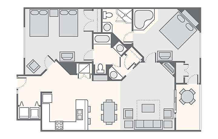 The Falls Village™ Combined 2 Deluxe, 1,378 sq ft.