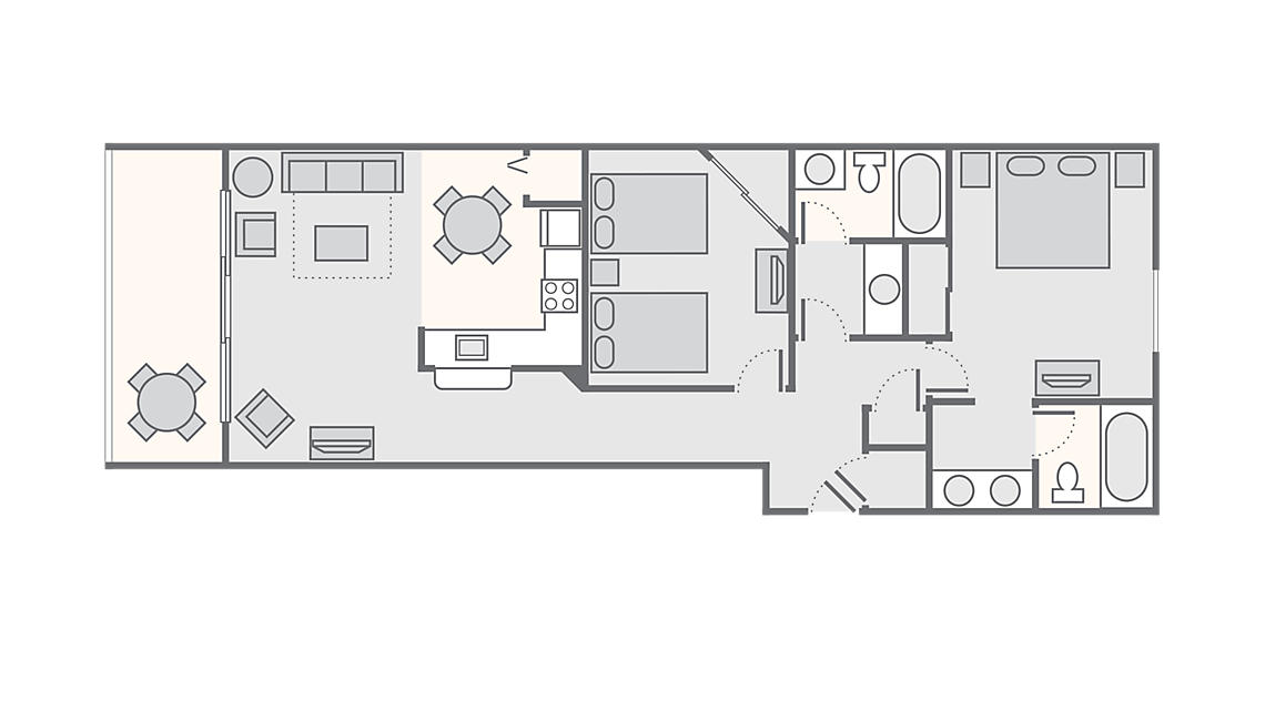 2 Bedroom Standard 1,034 - 1,133 SQ FT