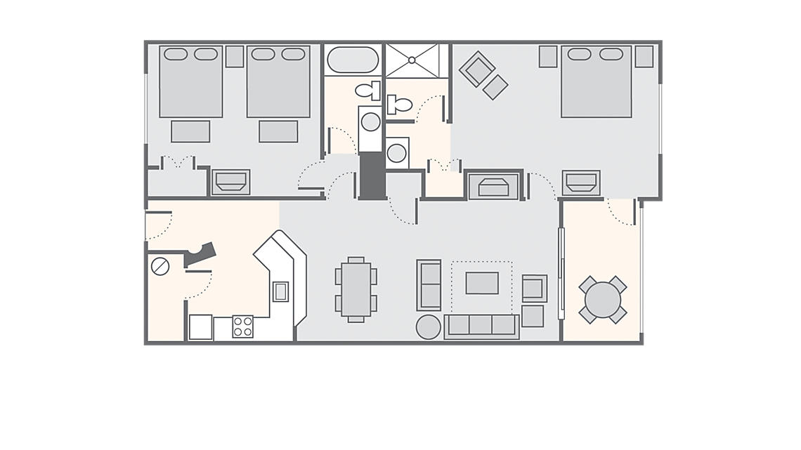 2 Bedroom 1,190 SQ FT