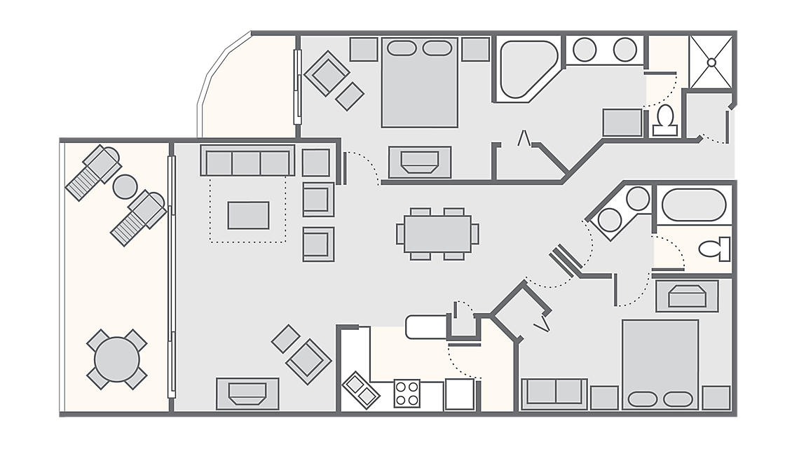 2 Bedroom Deluxe 1,343 SQ FT
