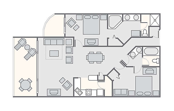 The Fountains 2 Bedroom Deluxe 1 343 Sq Ft