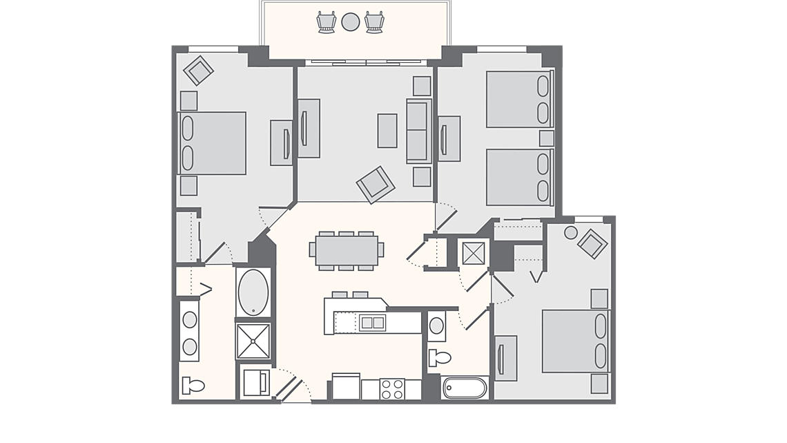 3 Bedroom Deluxe 1,357 SQ FT