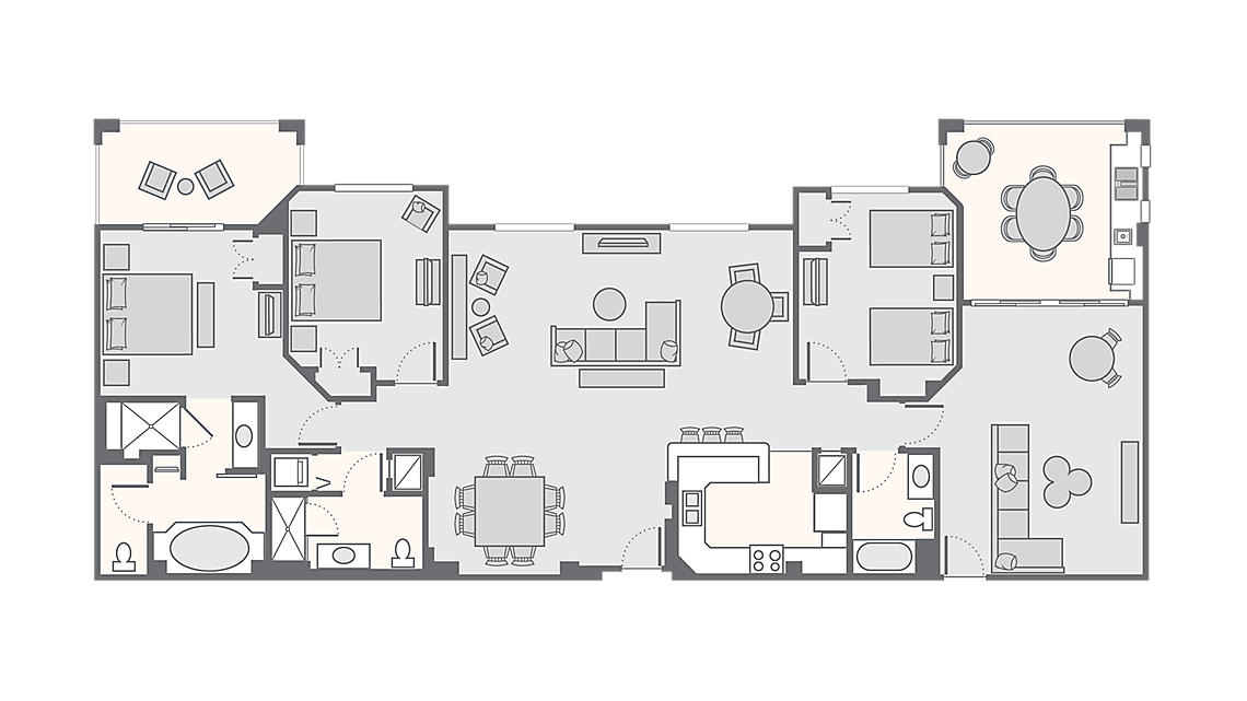 3 Bedroom Presidential Suite 2,267 - 2,725 SQ FT
