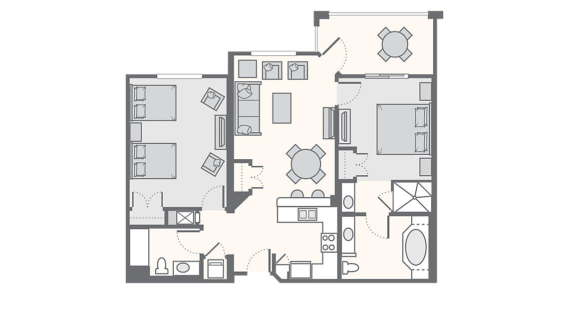 2 Bedroom Superior 1,278 SQ FT