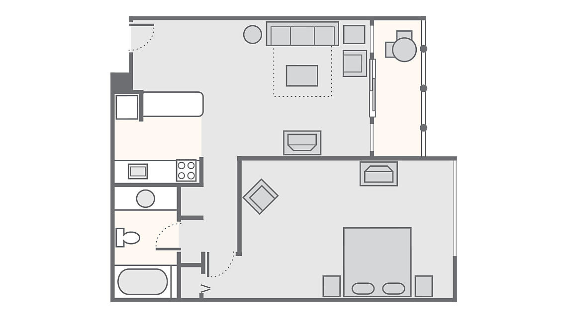 1 Bedroom Deluxe 768 SQ FT