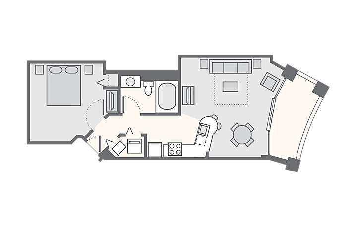 Horizons at 77th 1 Bedroom, 625 sq ft.