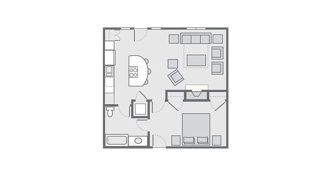 1 Bedroom Gardenview 730 SQ FT