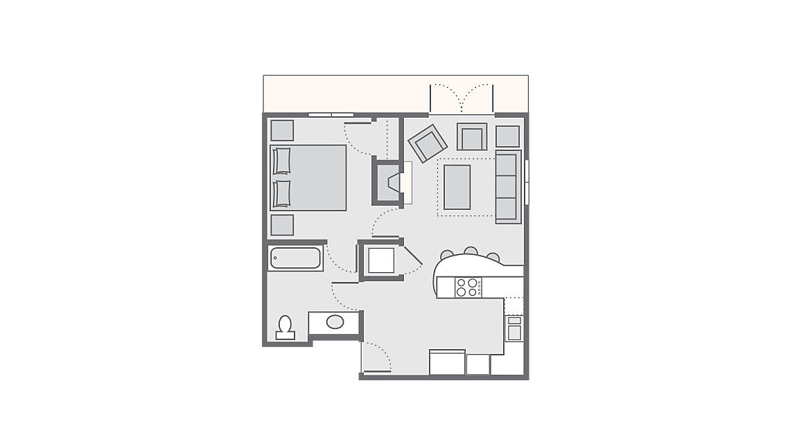 1 Bedroom Presidential 545 SQ FT
