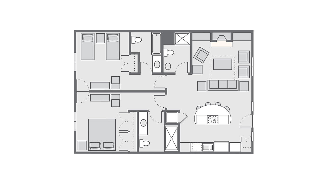 2 Bedroom Presidential 1,116-1,125 SQ FT