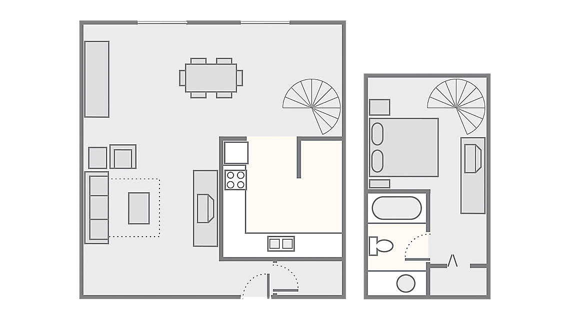 Typical 1 Bedroom Loft 750 SQ FT