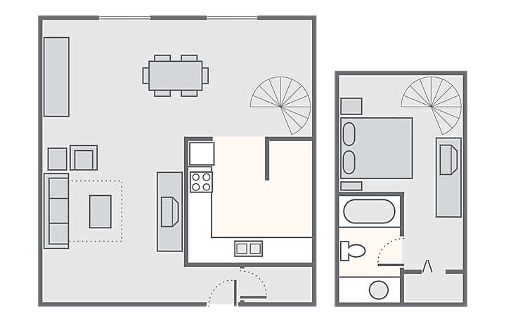 The Lodge Alley Inn™ 1 Bedroom Loft, 750 sq ft.