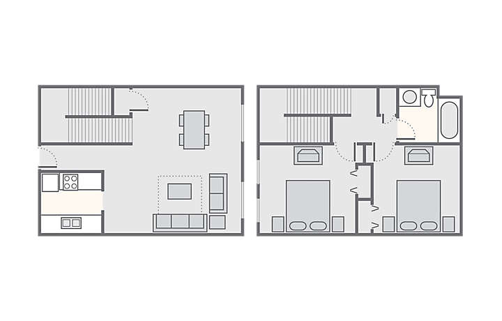 The Lodge Alley Inn™ 2 Bedroom, 790 sq ft.