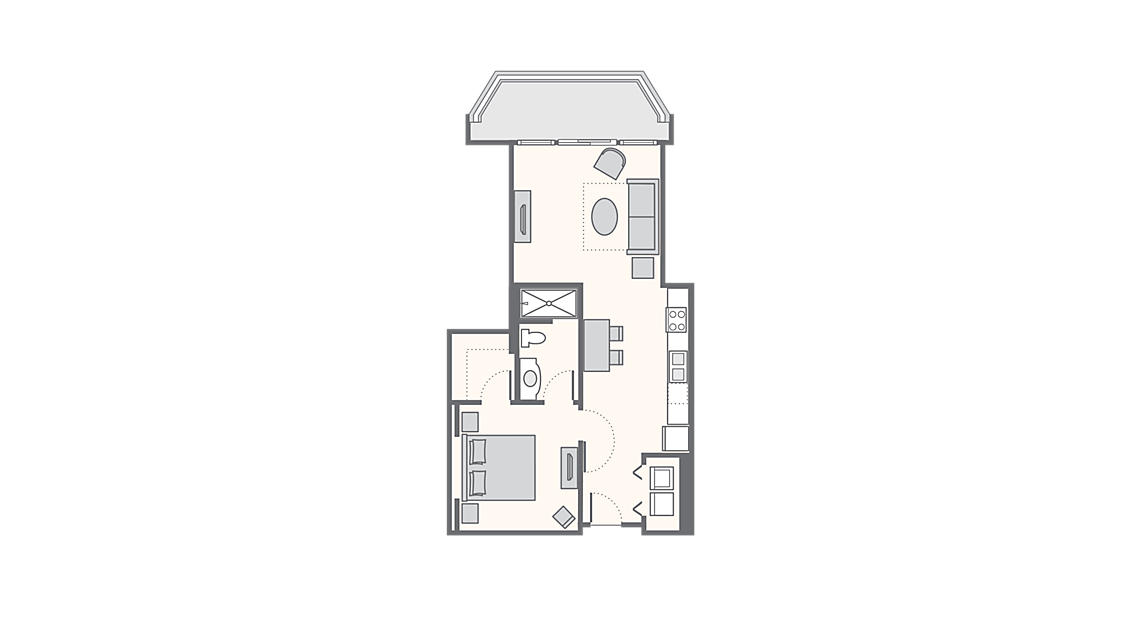 1 Bedroom Deluxe 780 SQ FT