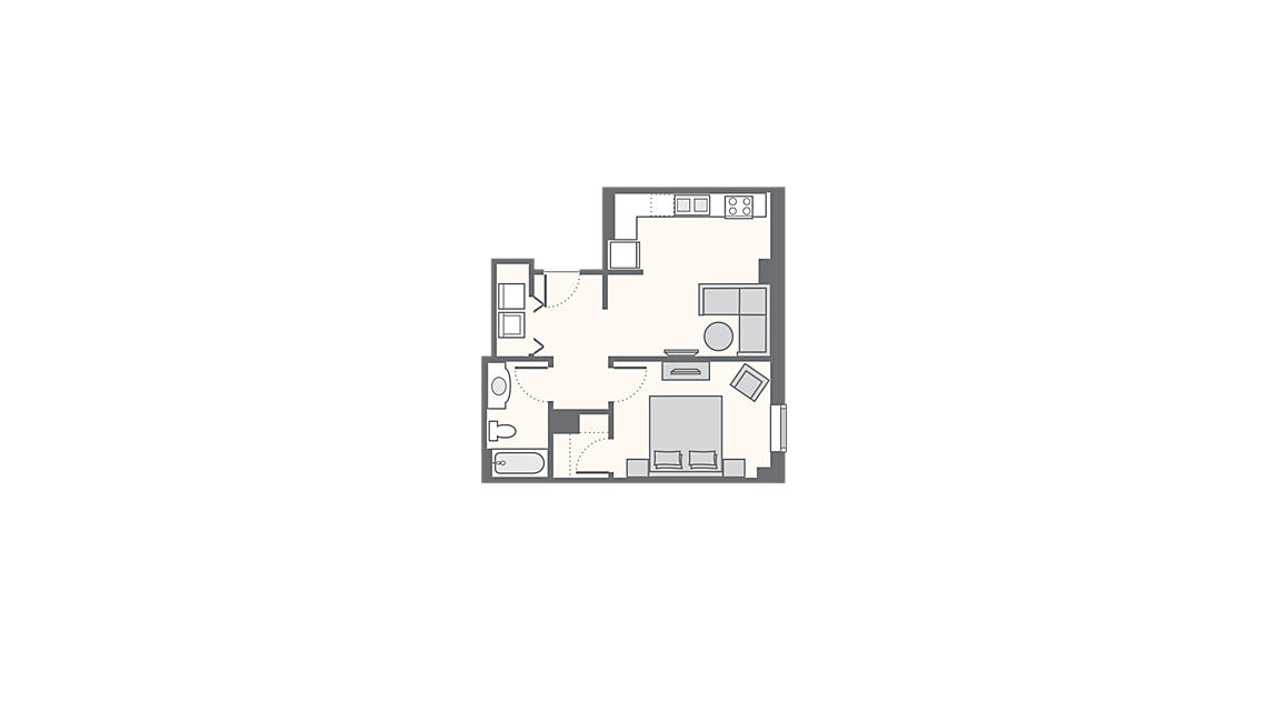 1 Bedroom Standard 525 SQ FT