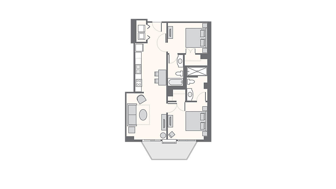 2 Bedroom Deluxe 1,050 SQ FT