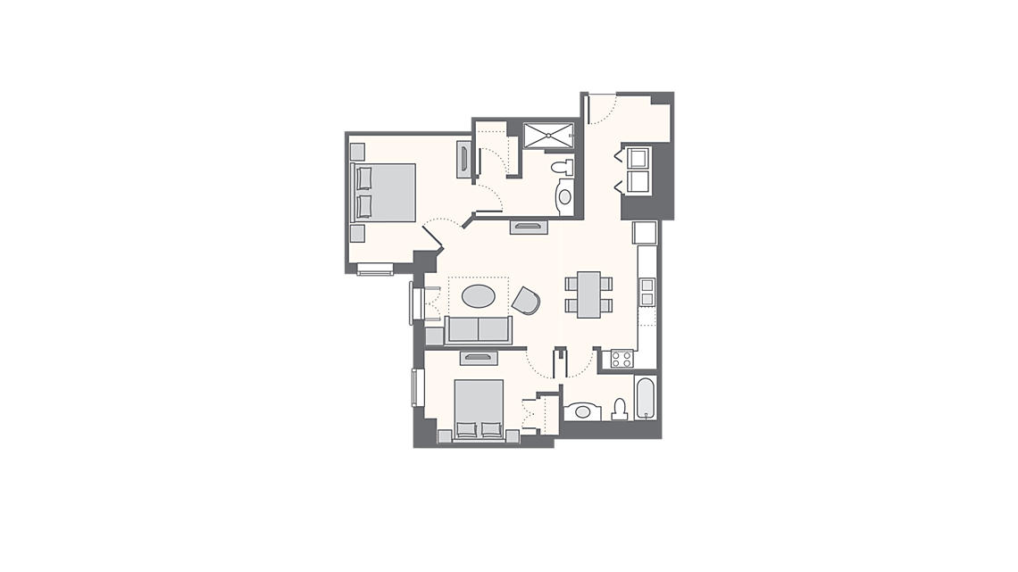 2 Bedroom Standard 955 SQ FT