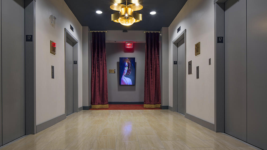 Motion activated paintings welcome you to your floor.