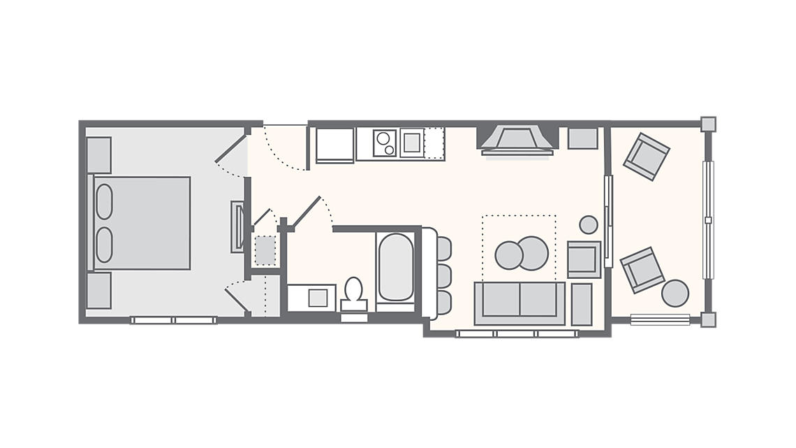 1 Bedroom Presidential 570 SQ FT