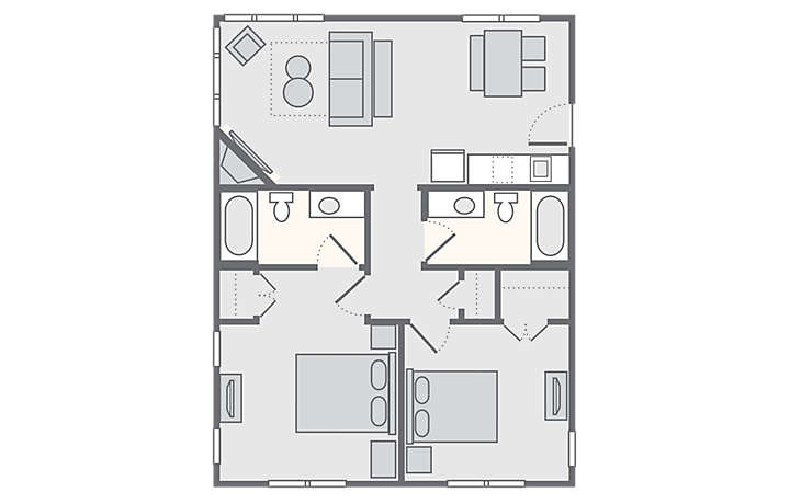 The Soundings Seaside Resort 2 Bedroom 2 Bath, 820 Sq Ft.