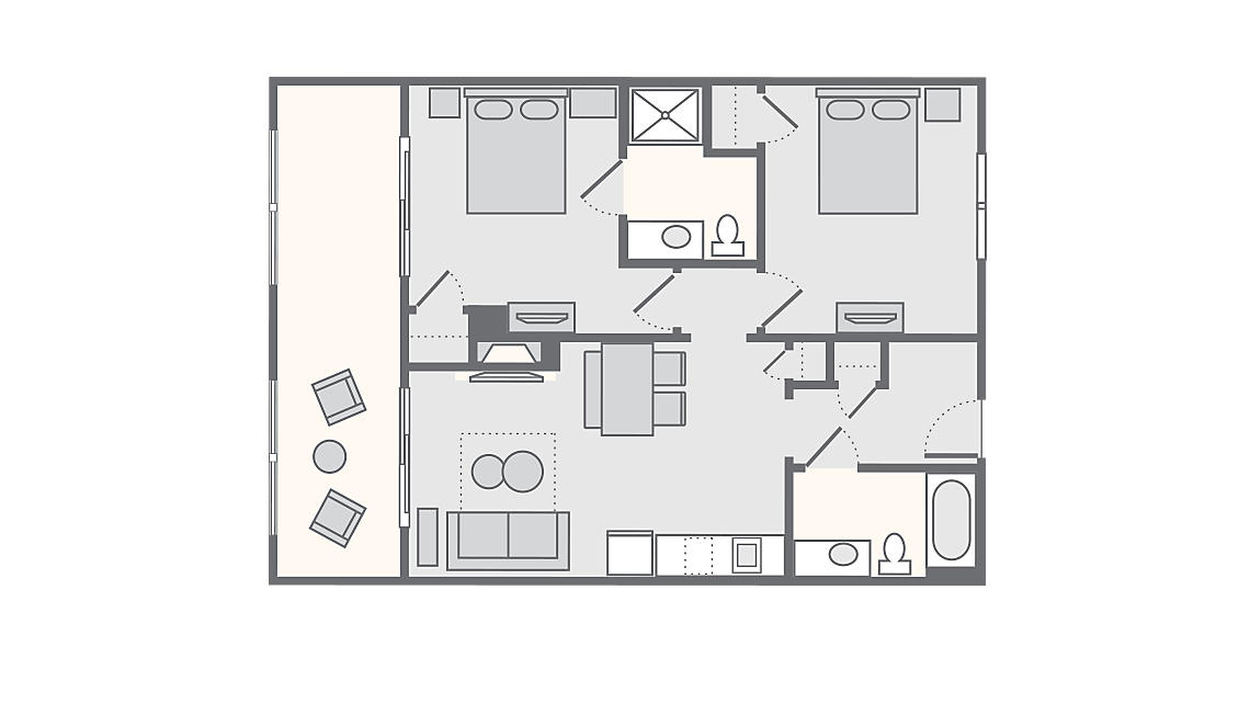 2 Bedroom 695 SQ FT