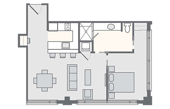 The Studio Homes at Ellis Square 1 Bedroom, 631 sq ft.