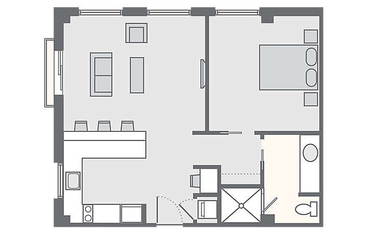 The Studio Homes at Ellis Square 1 Bedroom Presidential Suite, 661 sq ft.