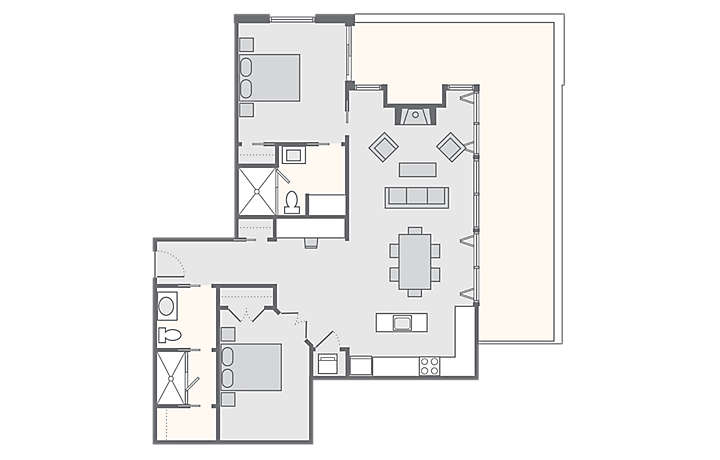 The Studio Homes at Ellis Square 2 Bedroom Presidential Suite, 1,114 sq ft.