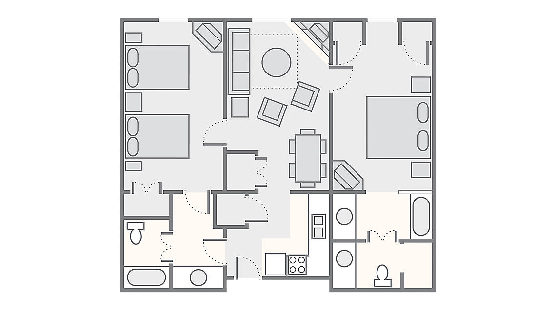 2 Bedroom 1,200 SQ FT