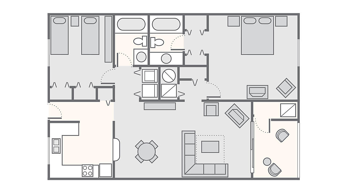 2 Bedroom 1,300 SQ FT