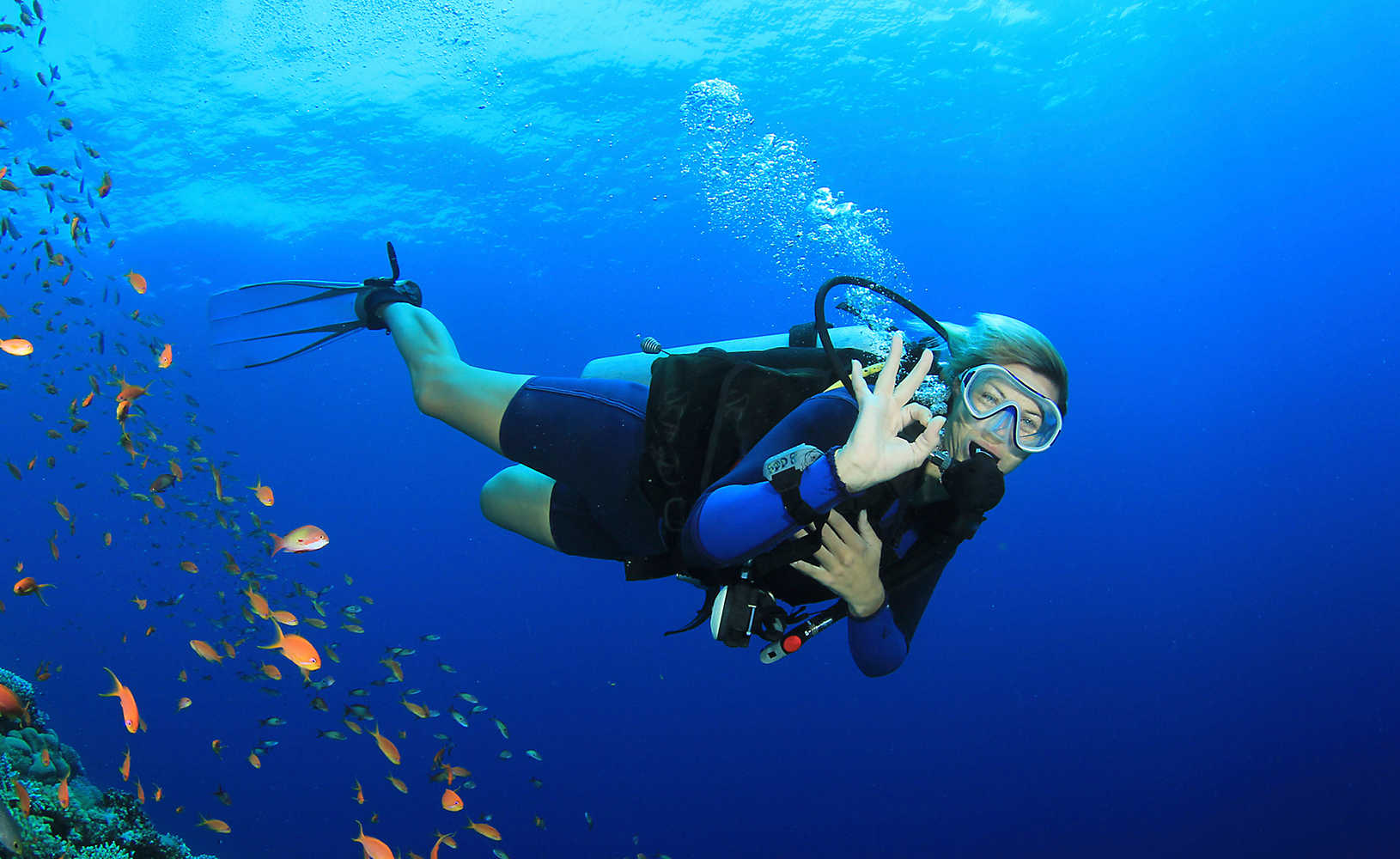 Woman exploring coral reef during scuba diving