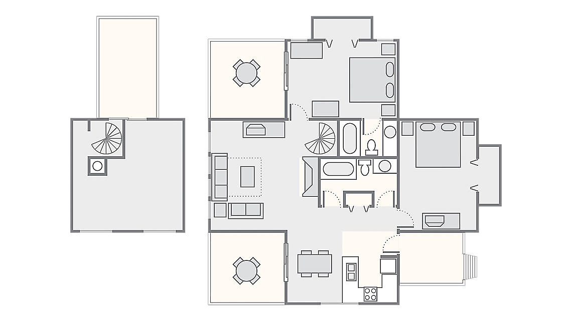 2 Bedroom with Loft 1,100 SQ FT