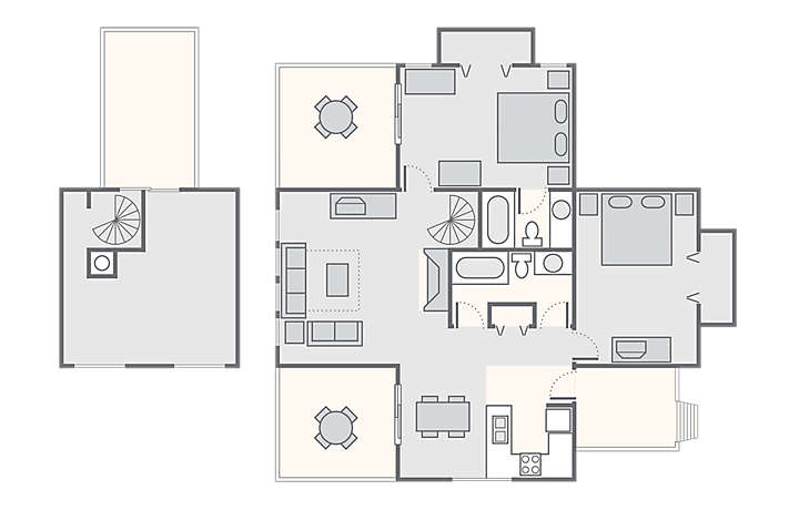 Waterwood Townhouses 2 Bedroom with Loft, 1,100 sq ft.