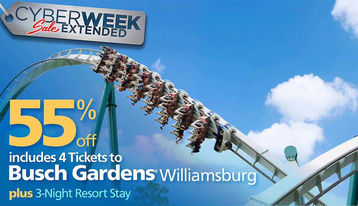 Cyber Week Busch Gardens Williamsburg Vacation Bluegreen Getaways