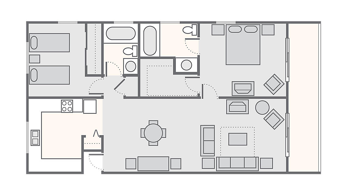 2 Bedroom 900 SQ FT