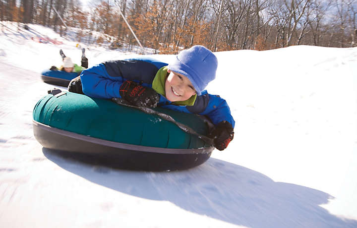 Kids snow tubing in Wisconsin Dells
