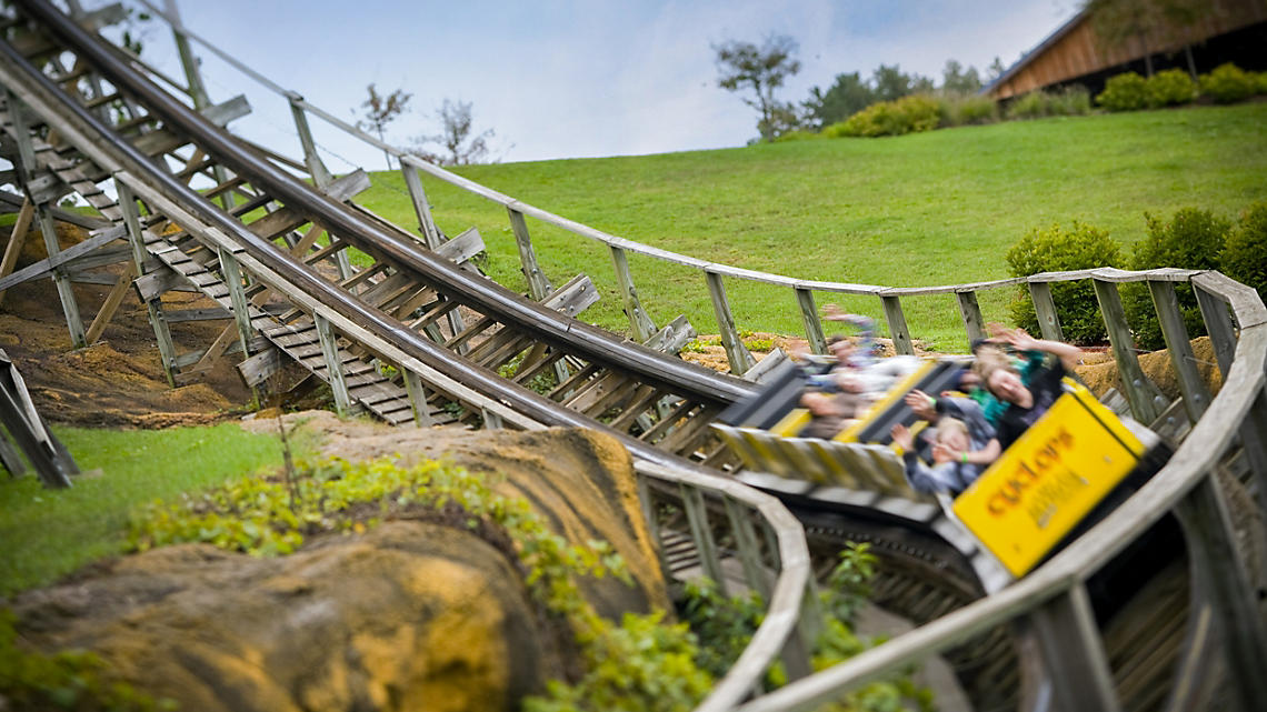 Ride the Cyclops, a wooden coaster at Mt. Olympus