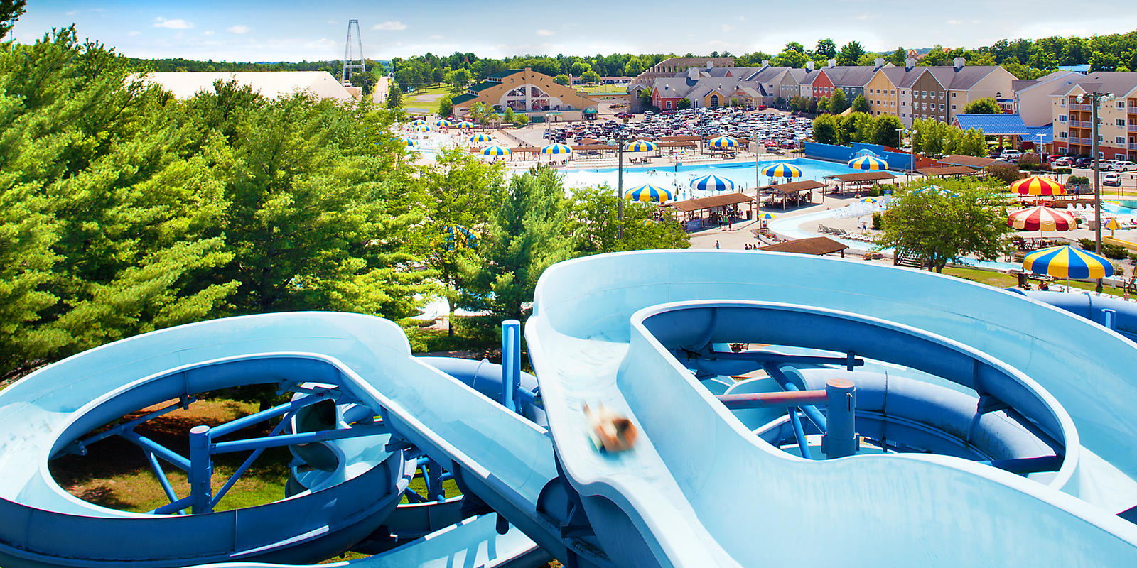 Mt. Olympus Water Park water slides view of park